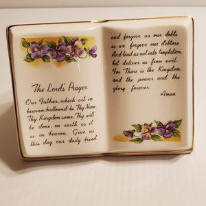 Vintage The Lord's Prayer Small Planter Vase Japan